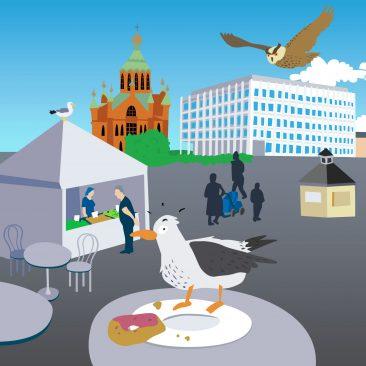 Helsinki-seikkailun kuvitusta